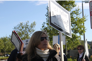 """We'd rather be teaching"" reads the sign of Shari Suda, math department chair for Ladera Ranch School. File photo."