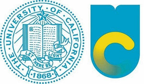 The image on the left is the old University of California logo. The one on the right is the now-rejected logo.