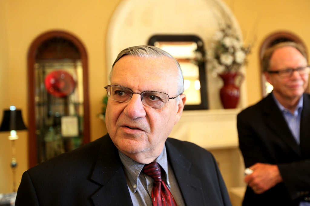 Sheriff Joe Arpaio speaks during a visit to the Rancho Bernardo Inn on August 10, 2010. Arpaio, who is Sheriff of Maricopa County in Arizona, gained national attention for using deputies to conduct raids to apprehend illegal immigrants and building large outdoor prison tents to house inmates.
