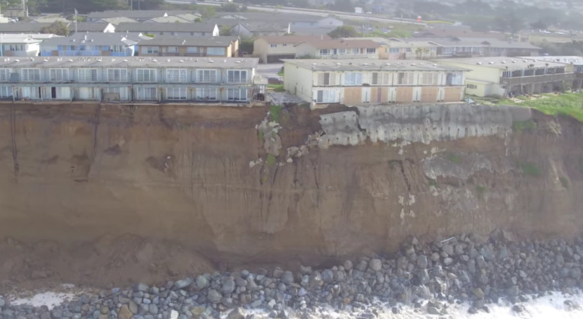 Duncan Sinfield uploaded a video to YouTube that shows coastal erosion in Pacifica on Jan. 23, captured by a drone.