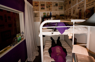 Beds, clothing, and items from the Heaven's Gate suicide at the Museum of Death in Hollywood.