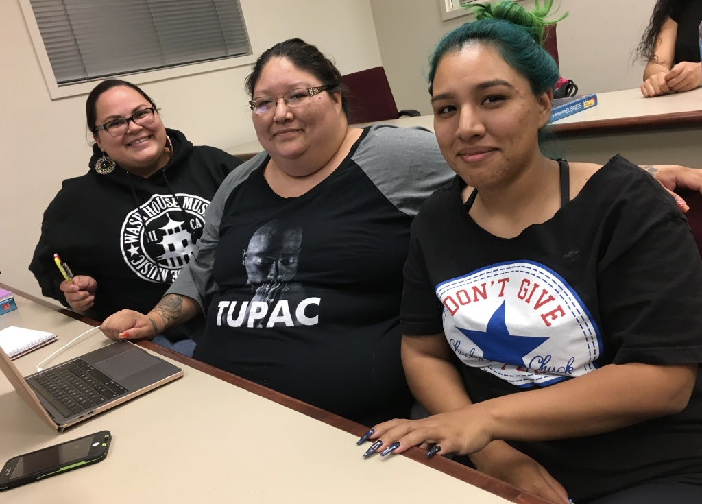 (R to L) Afton Johnson, Victoria Chubb, and Rebecca Waters took a business class at California Indian Nations College. They are members of the Morongo Band of Mission Indians.