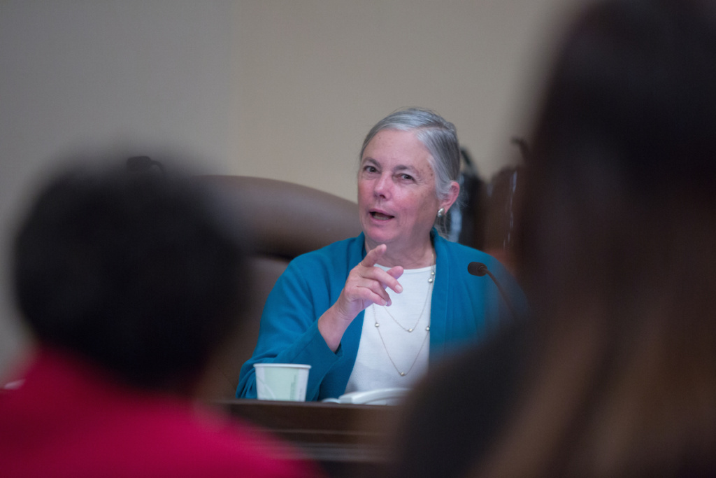 Senator Fran Pavley, D-Agoura Hills, attends a Senate Governance and Finance Committee meeting Wednesday, June 11, 2015 at the State Capitol in Sacramento, Calif.
