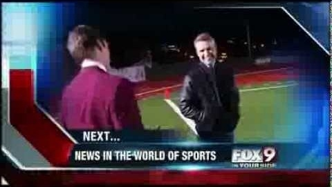 KIVI TV sports director Paul Gerke delivered his segment while in the character of Run Burgundy Thursday.