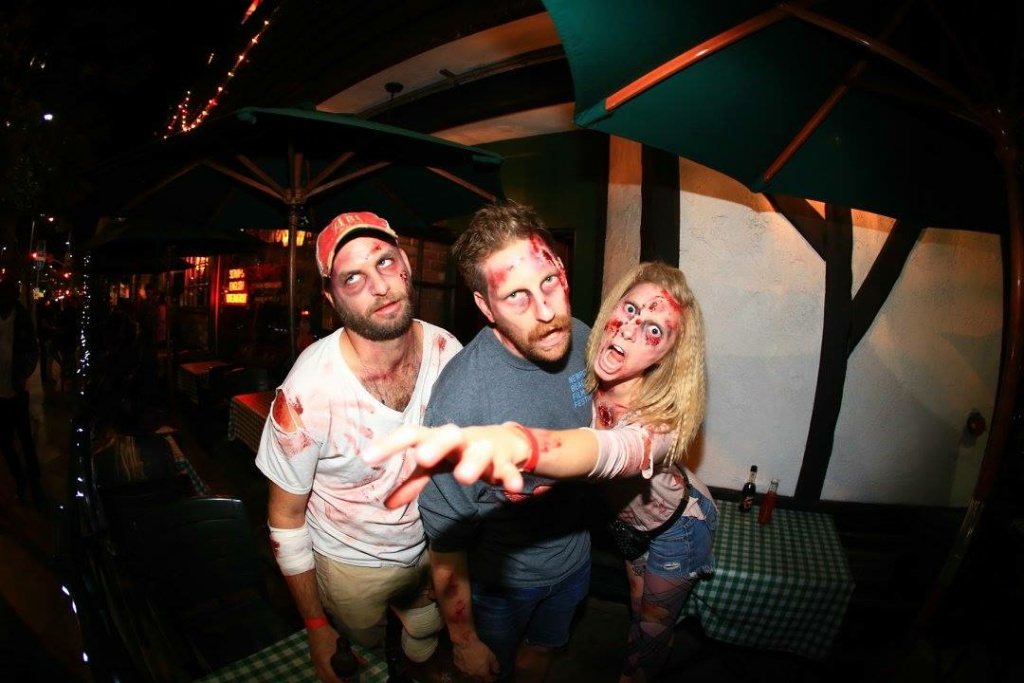 Dressing like a zombie is required for this annual pub crawl.