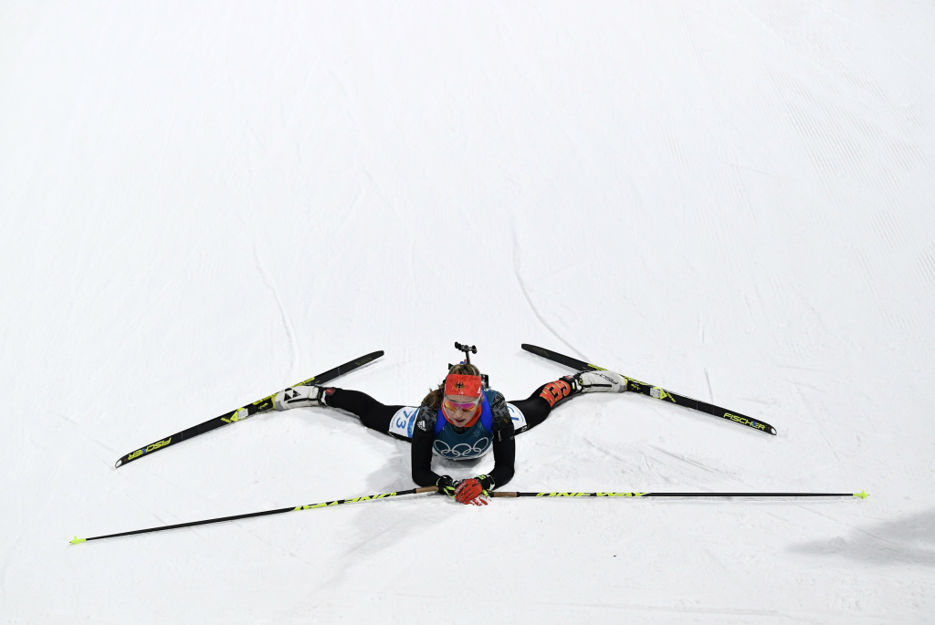 Franziska Preuss of Germany competes in the women's 15-kilometer individual biathlon at the 2018 Pyeongchang Winter Olympics.