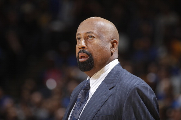 Head Coach Mike Woodson of the New York Knicks coaches against the Golden State Warriors on March 30, 2014 at Oracle Arena in Oakland, California. Woodson was fired Monday, April 21, 2014, after a losing season.