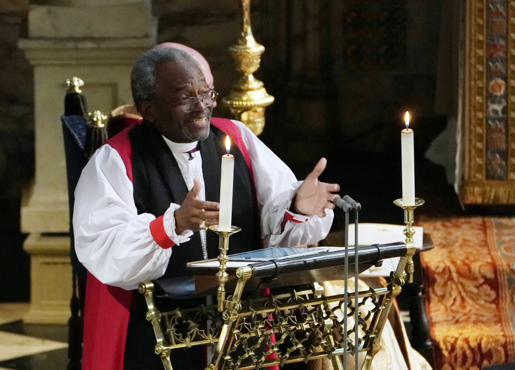 Bishop Michael Bruce Curry gives a reading during the wedding ceremony of Britain's Prince Harry, Duke of Sussex and American actress Meghan Markle in St. George's Chapel, Windsor Castle, in Windsor, on May 19, 2018.