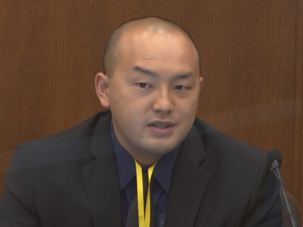 Minneapolis Park Police Officer Peter Chang testifies Tuesday in the trial of former Minneapolis police Officer Derek Chauvin. Chauvin is charged in the death of George Floyd.