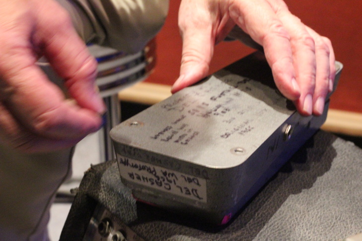 Del Casher's original prototype wah-wah pedal. He keeps it in a bright red case.