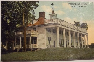 A vintage postcard of George Washington's mansion in Mt. Vernon, Va.