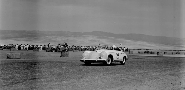 James Dean in a Porsche 356 Speedster at the 1955 Palm Springs Road Race.