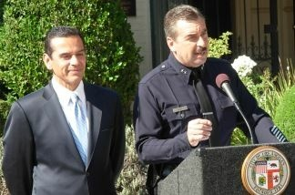 Probable new LAPD Chief Charlie Beck and Mayor Villaraigosa at Getty House for the official announcement that the Mayor wants Beck to lead the department, 11-03-2009.
