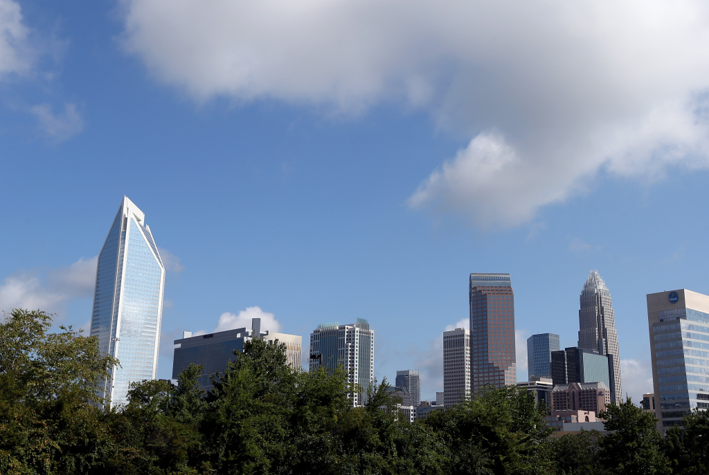 A view of the Charlotte skyline after the Democratic National Convention Committee Unveiling Stage for the DNC at Time Warner Cable Arena on August 31, 2012 in Charlotte, North Carolina.