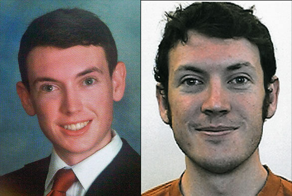A high school photo of James Holmes (L), the man who allegedly opened fire on moviegoers at the midnight premiere of the Batman movie in Colorado, next to his college portrait.