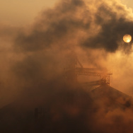 This picture taken on January 17, 2013 shows a cement factory releasing heavy smoke in Binzhou, in eastern China's Shandong province.