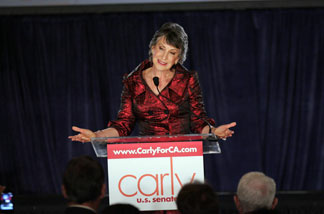 Republican candidate for U.S. Senate and former head of Hewlett-Packard Carly Fiorina speaks to supporters while waiting for election results, during the California Republican Party Victory 2010 Election Night party held at the Hyatt Regency Irvine on November 2, 2010 in Irvine, California. Incumbent Sen. Barbara Boxer (D-CA) declared victory despite opponent Fiorina refusing to concede their tight senate race.