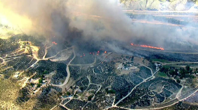 A fire in Acton has been burning since 4 p.m., taking out more than 40 acres.