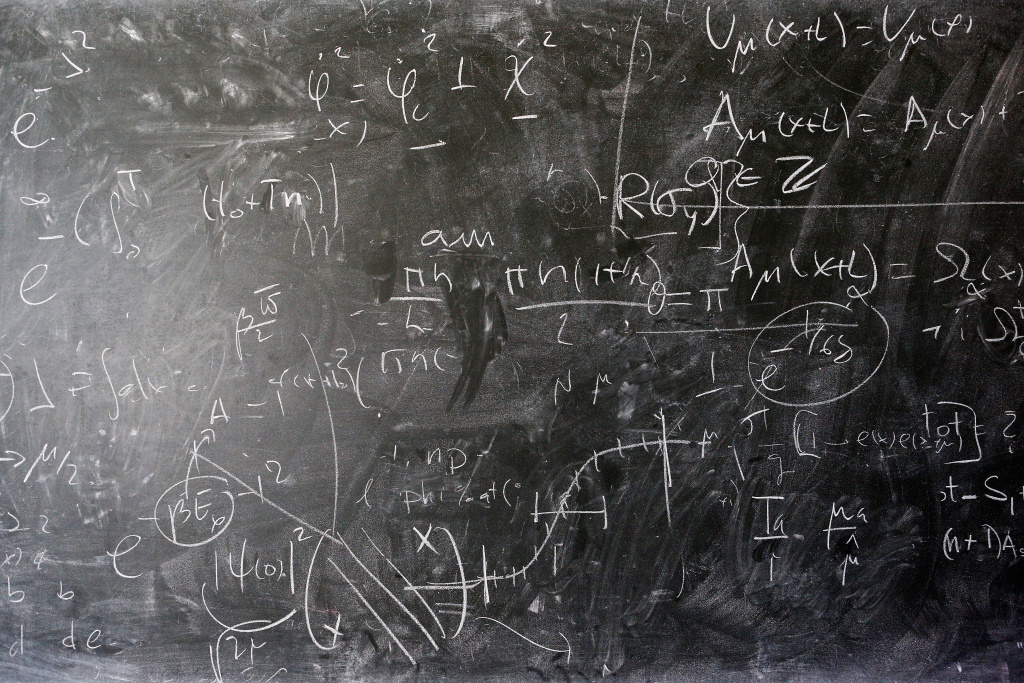 A detailed view of the blackboard with theoretical physics equations in chalk by Alberto Ramos, Theoretical Physics Fellow and visitor, Antonio Gonzalez-Arroyo from the Universidad Autonoma de Madrid (both not in frame) at The European Organization for Nuclear Research commonly know as CERN on April 19, 2016 in Geneva, Switzerland.