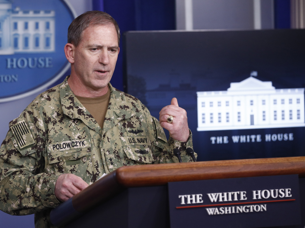 Navy Rear Adm. John Polowczyk, supply chain task force lead at FEMA, speaks during a coronavirus task force briefing at the White House on Sunday.