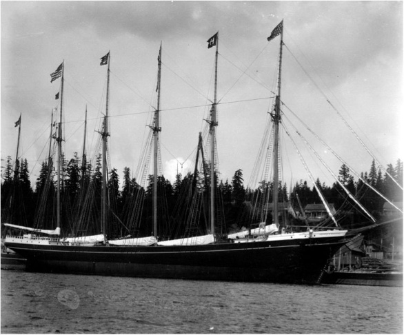 Five-masted lumber schooner George E. Billings shortly after launching flying the Hall Bros. house flag from the mast. The Hall Bros. built the 224-foot wooden vessel at Port Blakely, Washington for their own account in 1903.