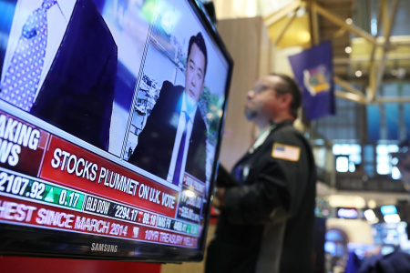 """U.S. Markets React To Historic """"Brexit"""" Vote In UK"""