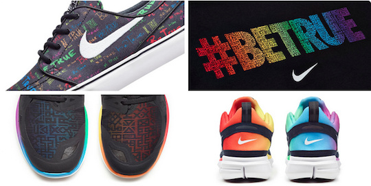 A selection of Nike's #BeTrue items the company featured on Twitter. #BeTrue is designed to celebrate LGBT athletes.