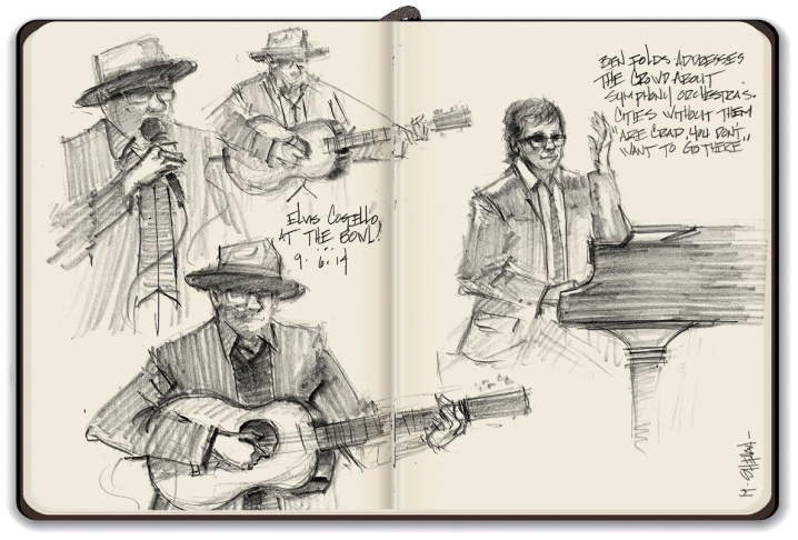 Mike Sheehan's sketches of the Elvis Costello/Ben Folds/LA Phil concert at the Hollywood Bowl.