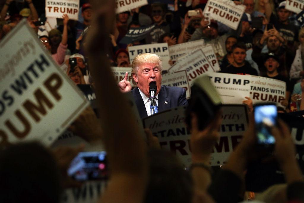 File: Then-presidential candidate Donald Trump speaks at a rally on May 25, 2016 in Anaheim.
