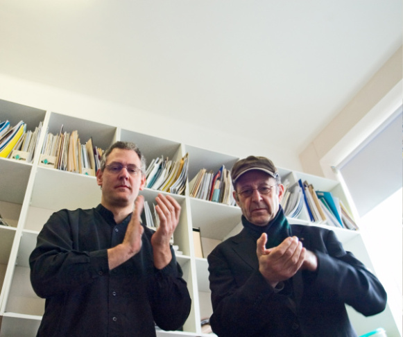 Steve Reich (right) performing