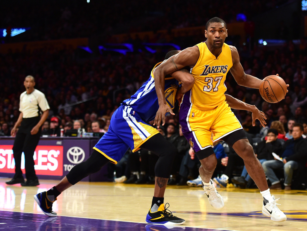 Metta World Peace #37 of the Los Angeles Lakers at Staples Center.