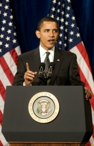 President Obama speaks to a crowd about his $75 billion mortgage relief plan, part of the larger $787 billion stimulus package, in February 2009 in Mesa, Arizona.