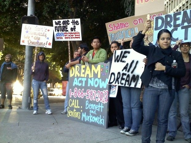 Young DREAM Act supporters rally in downtown L.A., December 2, 2010