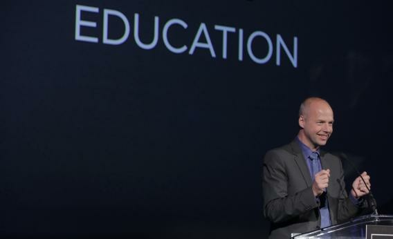 Udacity founder Sebastian Thrun speaks after receiving Smithsonian Magazine's ingenuity award for education last fall.