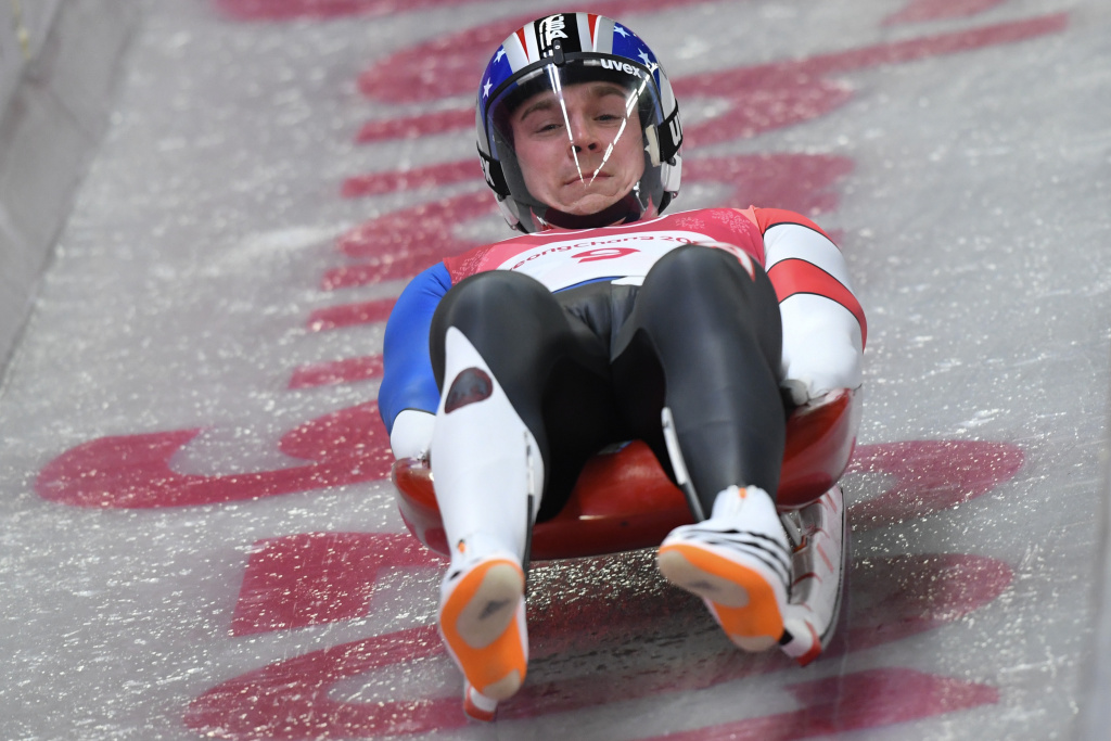 Tucker West of the United States competes in the men's luge singles run 1 during the Pyeongchang 2018 Winter Olympic Games at the Olympic Sliding Centre on February 10, 2018.