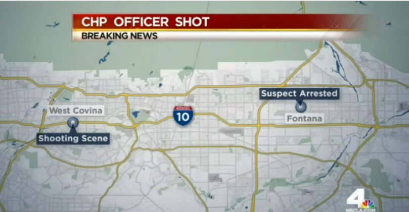 An officer was shot during a traffic stop in West Covina Friday.