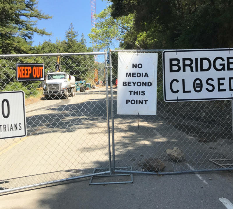 Signs warn against entry near the site of the now-demolished Pfeiffer Canyon Bridge.