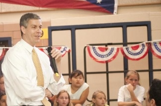 Education Secretary Arne Duncan speaks during an 'Ask, Listen, Learn: Kids And Alcohol Don't Mix' Event at Arlington Science Focus Elementary School, VA.