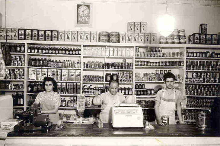 The Mastro family's Italian Market was located on Ord and Broadway in Los Angeles. Once the heart of Little Italy, the area is now the center of Los Angeles' Chinatown. Pictured are Joe Mastro, center, with son, Vito, and daughter, Mary.