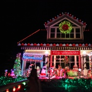 Shirley Pepy's festive home on Balboa Island in Newport Beach, CA. Planning for her holiday light design began back in July. The theme always involves penguins.