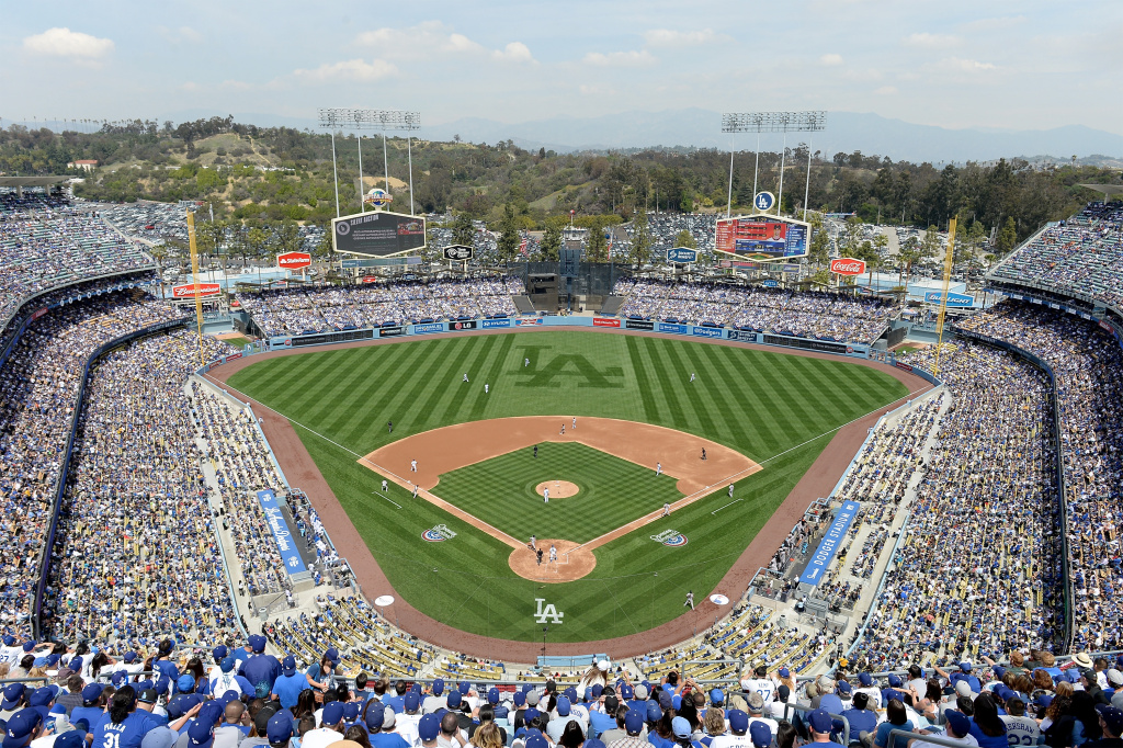 General View of the game between the San Francisco Giants and the Los Angeles Dodgers on opening day at Dodger Stadium on April 4, 2014 in Los Angeles, California.