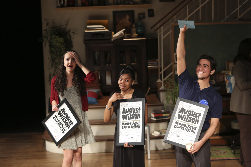 From left, the top three student finalists from last year's competition Eliana Pipes, Rhyver White and Pablo Lopez accept their awards during the August Wilson Monologue Competition Regional Finals at the Center Theatre Group/Mark Taper Forum on March 4, 2013 in Los Angeles.