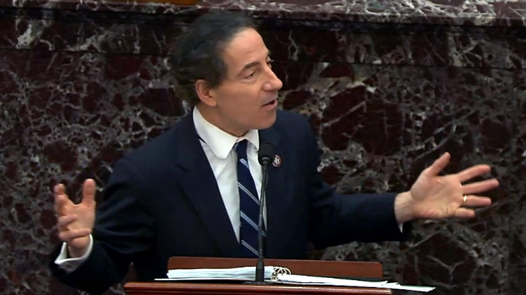 Lead House impeachment manager Rep. Jamie Raskin, D-Md., delivered his closing arguments on the fifth day of former President Donald Trump's second impeachment trial.