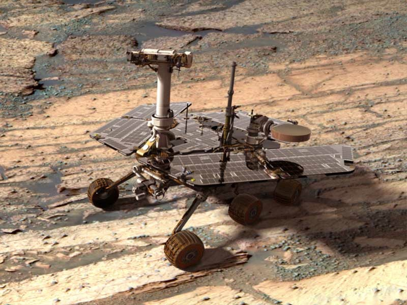A digital image showing the Opportunity rover on Mars