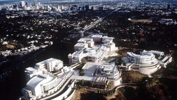 Aerial view of the Getty Center in Brentwood, California.