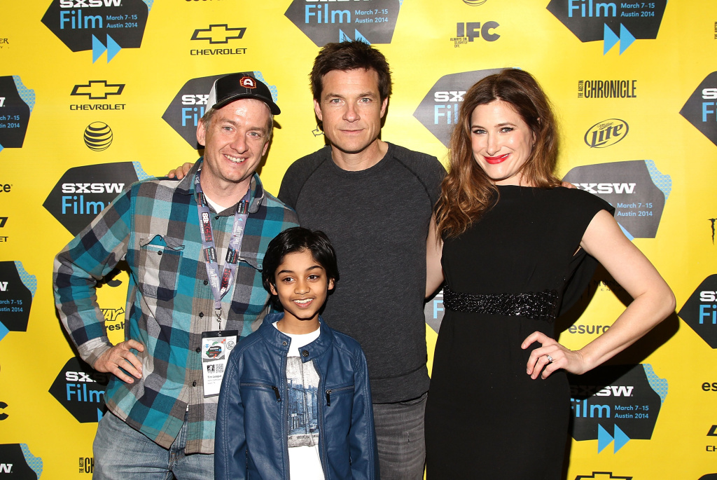 AUSTIN, TX - MARCH 07:  (L-R) Alamo Drafthouse owner Tim League poses with actors Rohan Chand, Jason Bateman and Kathryn Hahn at the SXSW Red Carpet Screening Of Focus Features'