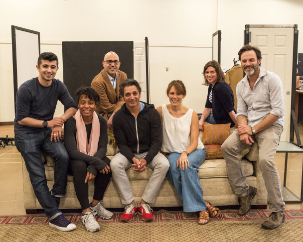 "L-R: cast members Behzad Dabu and Karen Pittman, playwright Ayad Akhtar, cast members Hari Dhillon and Emily Swallow, director Kimberly Senior and cast member J Anthony Crane in rehearsal for Akhtar's Pulitzer Prize-winning play ""Disgraced."""