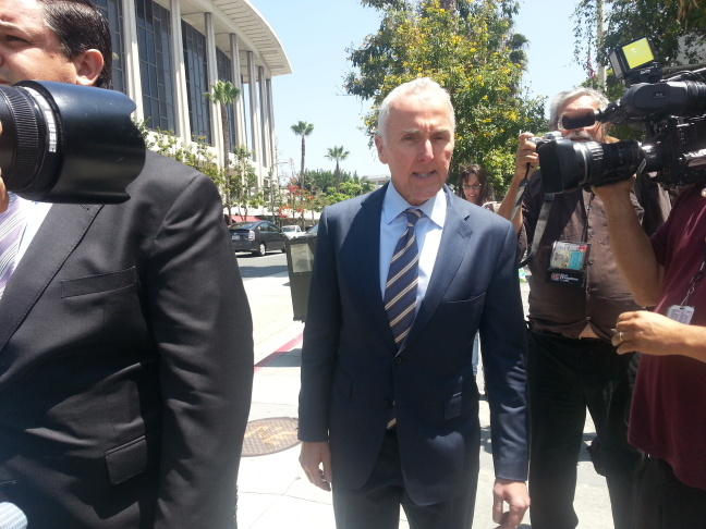Former Dodgers owner Frank McCourt leaves a downtown L.A. courthouse after testifying in the Bryan Stow beating civil trial on Friday, June 13, 2014.