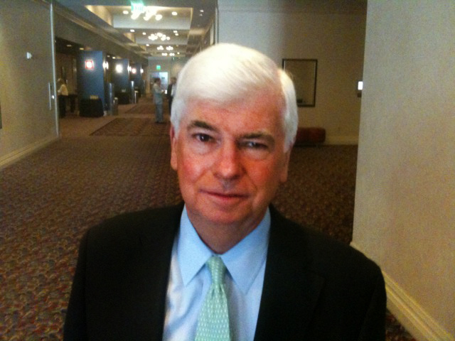 Chris Dodd at Renaissance Hotel in Hollywood after speaking to the Society of Motion Picture and Television Engineers