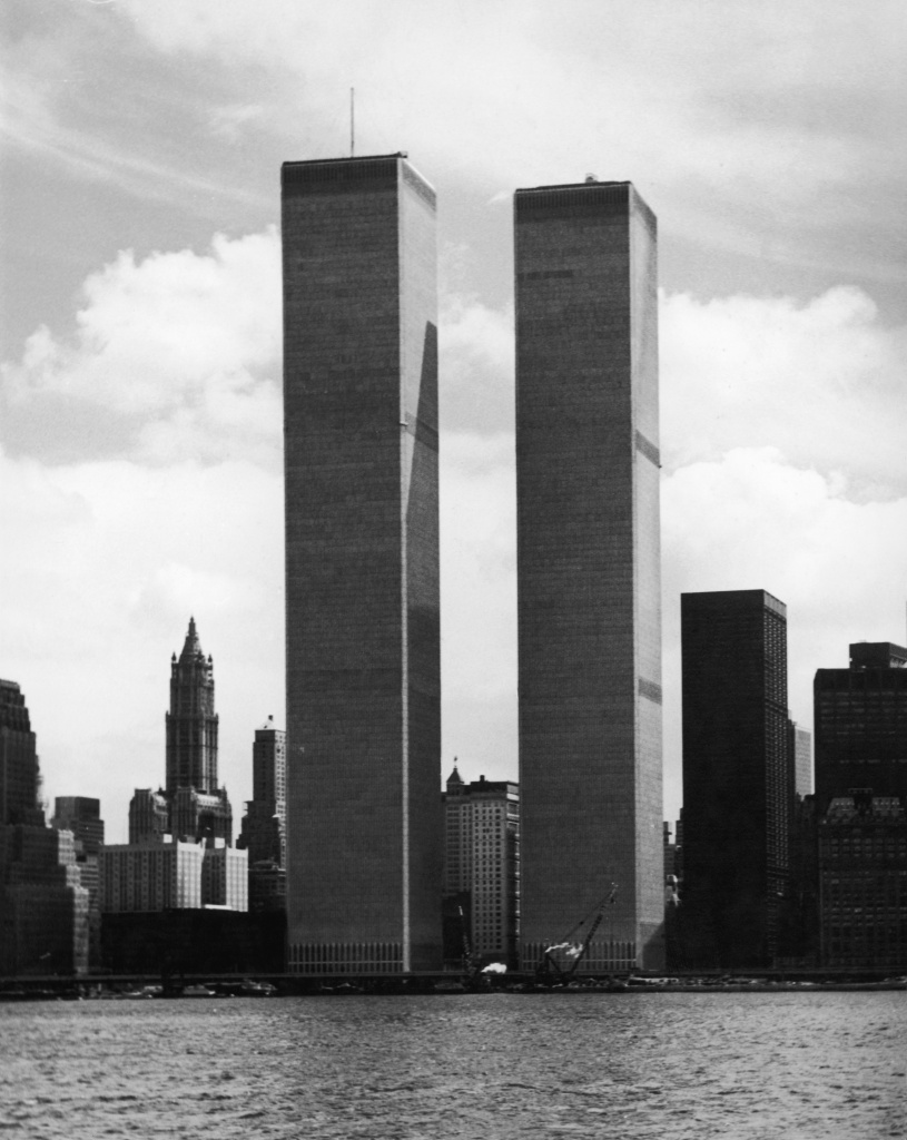 The twin towers of the World Trade Center in New York, designed by American architect Minoru Yamasaki, 1974.